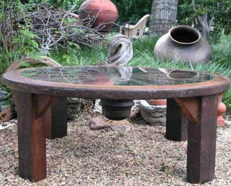 outdoor rustic wood  round coffe table